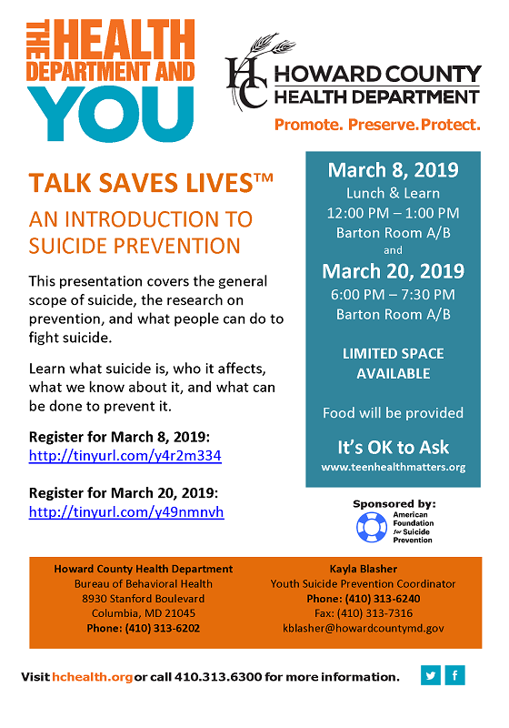 YSP Talk Saves Lives Flier 2 21 2019v3