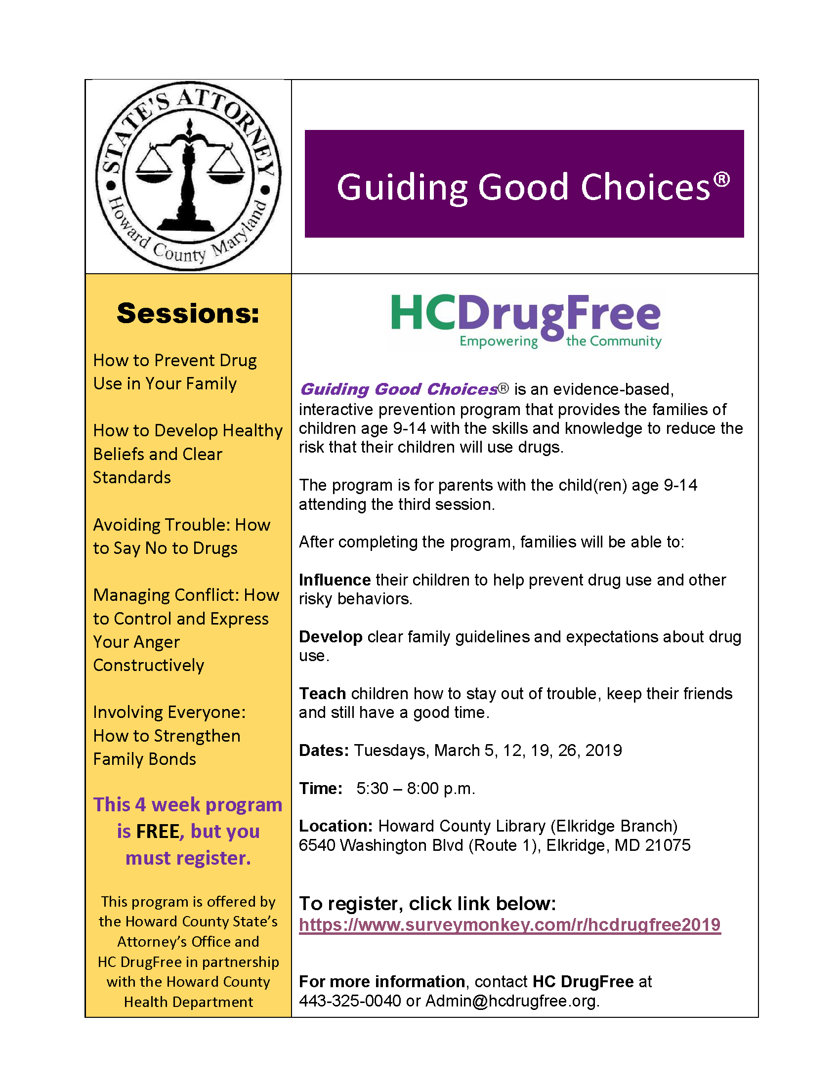 GGC Flyer March 2019 HCDRUG StatesAttorney